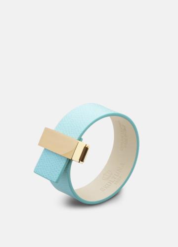 Clasp Thin Leather Bracelet Gold - Eau de Nil