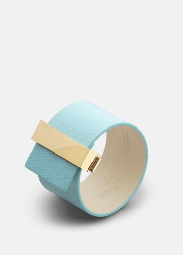 Clasp Leather Bracelet Gold - Eau de Nil