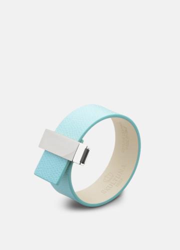 Clasp Thin Leather Bracelet Steel - Eau de Nil
