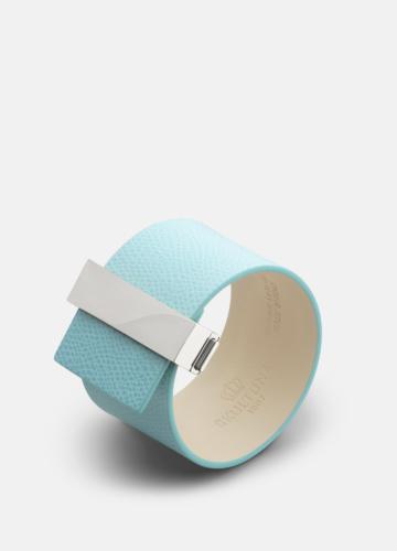 Clasp Leather Bracelet Steel - Eau de Nil
