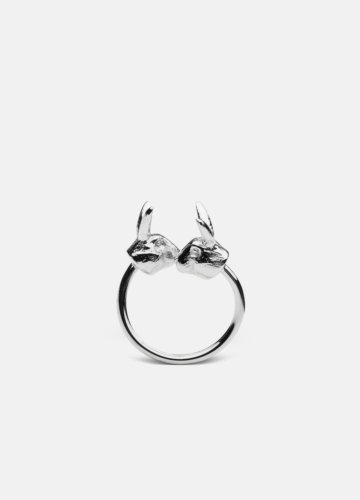 Nordic Wildlife Collection Polished Steel - Hare ring