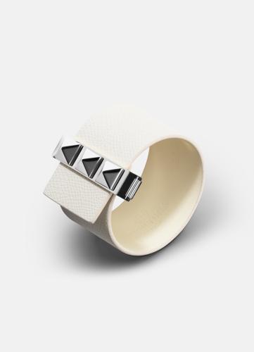 Clasp Rivets Bracelet Silver - White