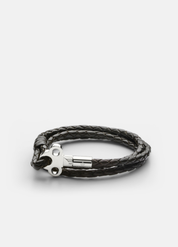 The Key Leather Bracelet Silver - Dark Brown
