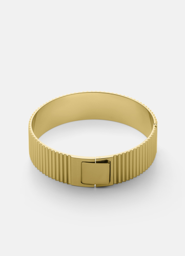 Ribbed Clasp Bangle - Gold Plated