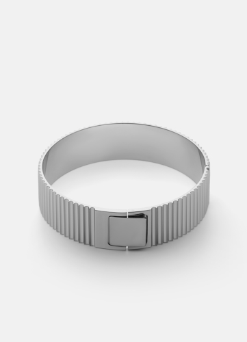Ribbed Clasp Bangle - Polished Steel