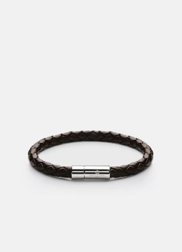Leather Bracelet Silver - Dark Brown