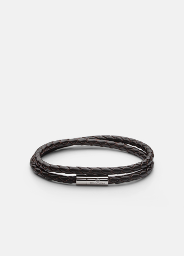 Leather Bracelet Thin Silver - Dark Brown