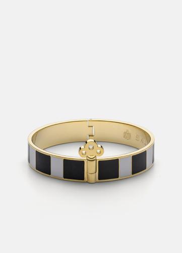 Stripe Bangle with Key Lock - Black & White