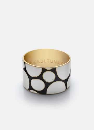 Dot Pattern Bangle - Grey & White