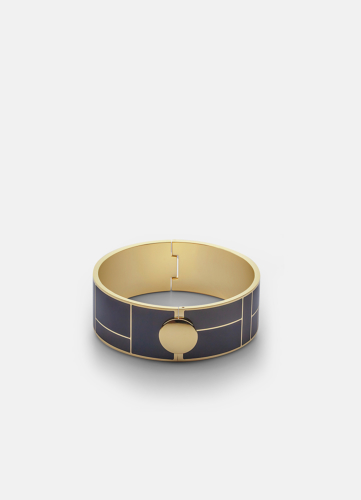 Block Enamel Bangle Medium - Dark Blue