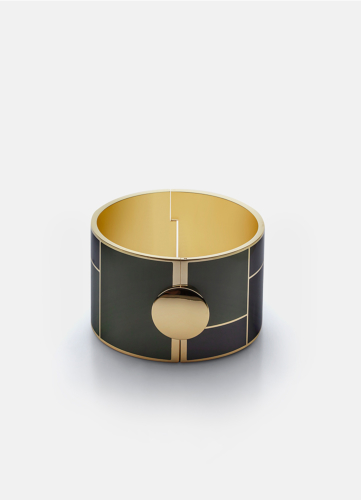 Block Enamel Bangle Wide - Camo Green