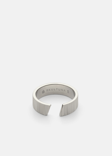 Ribbed Ring Wide - Polished Steel