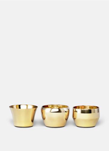 Skultuna Kin brass, set of 3. Candle holder made of brass