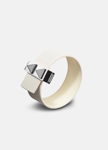 Clasp Rivets Thin Bracelet Silver - White