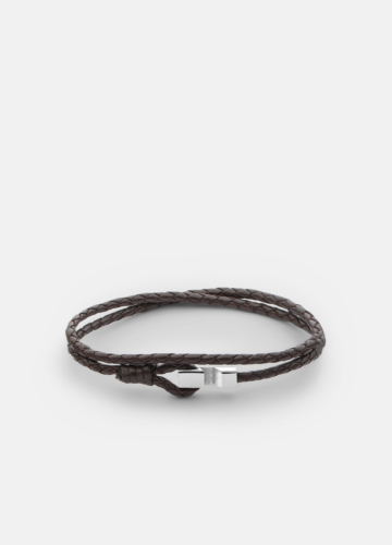 Hook leather Bracelet Thin Polished Steel - Dark Brown