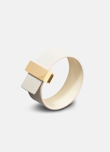 Clasp Leather Bracelet Thin Gold - White