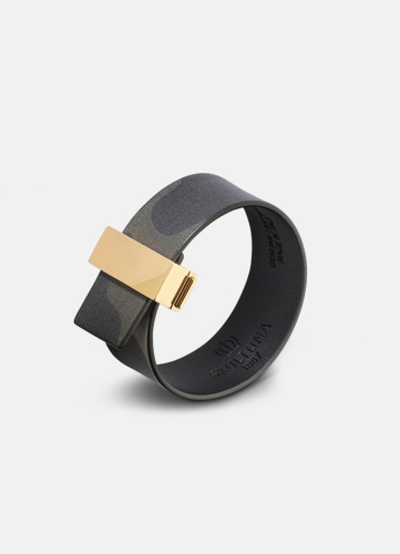 Clasp Leather Bracelet Thin Gold - Camo