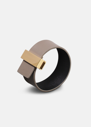 Clasp Leather Bracelet Thin Gold - Grey