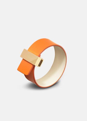 Clasp Leather Bracelet Thin Gold - Orange
