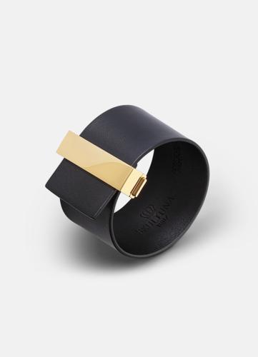 Clasp Leather Bracelet Gold - Black