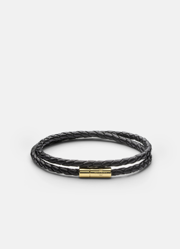 Leather Bracelet Thin Gold - Black