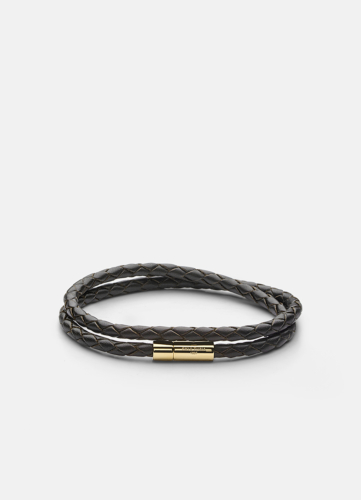 Leather Bracelet Thin Gold - Dark Brown
