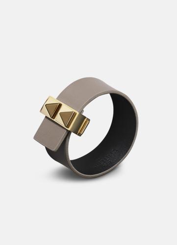 Clasp Rivets Thin Bracelet Gold - Grey
