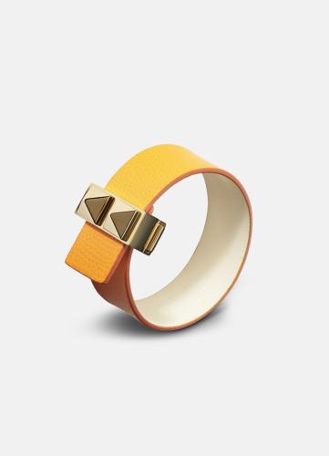 Clasp Rivets Thin Bracelet Gold - Orange
