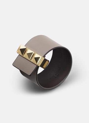 Clasp Rivets Bracelet Gold - Grey