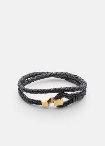Hook leather Bracelet Gold plated - Black