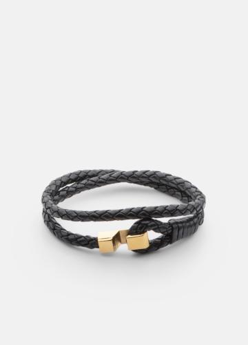 Hook leather Bracelet Gold plated - Black