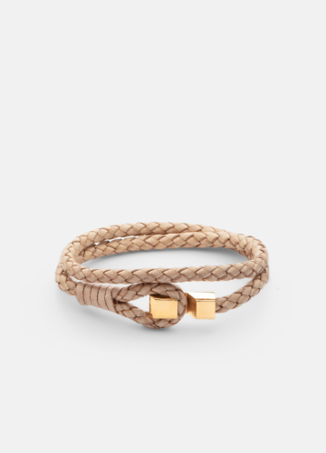 Hook leather Bracelet Gold plated - Natural