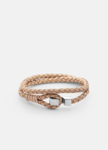 Hook leather Bracelet Polished Steel - Natural