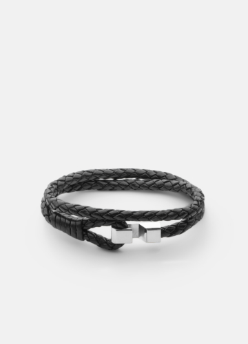 Hook leather Bracelet Polished Steel - Black
