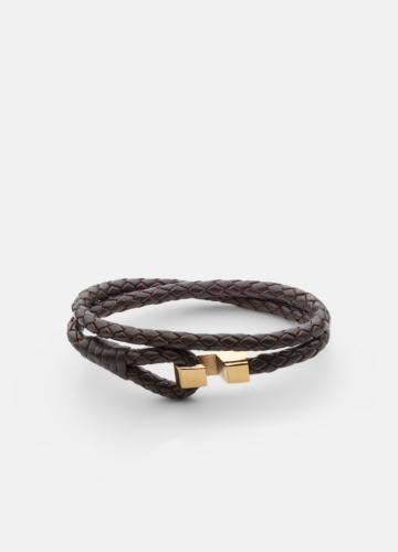 Hook leather Bracelet Gold plated - Dark Brown
