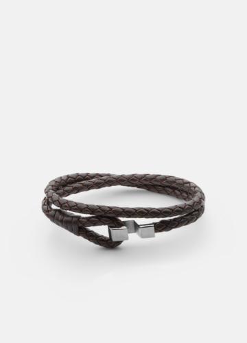 Hook leather Bracelet Polished Steel - Dark Brown