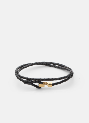 Hook leather Bracelet Thin Gold plated - Black