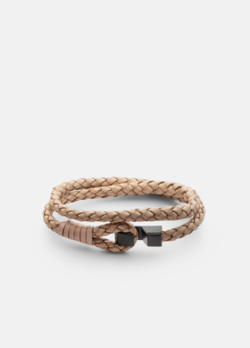 Hook leather Bracelet Matte black - Natural