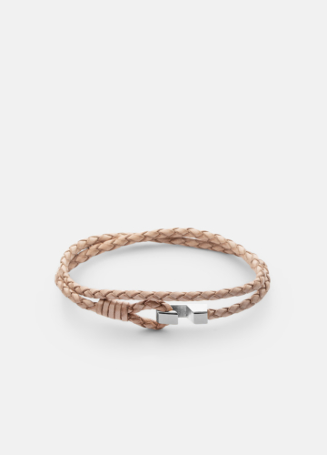 Hook leather Bracelet Thin Polished Steel - Natural