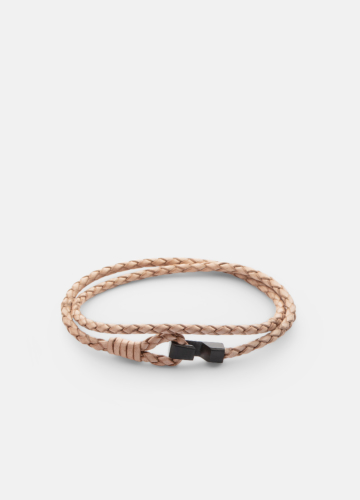 Hook leather Bracelet Thin Matte Black - Natural