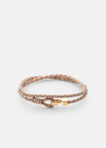 Hook leather Bracelet Thin Gold plated - Natural