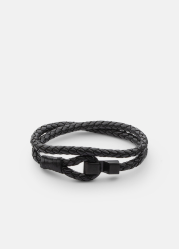 Hook leather Bracelet Matte Black - Black