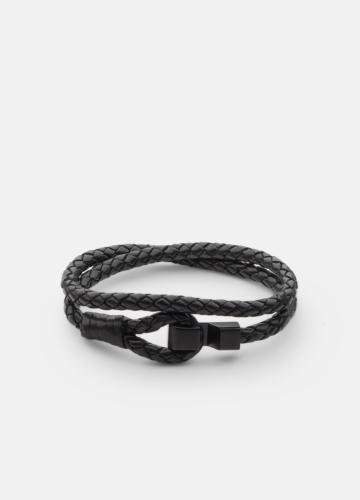 Hook leather Bracelet Matte Black - Black