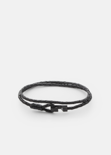 Hook leather Bracelet Thin Matte Black - Black