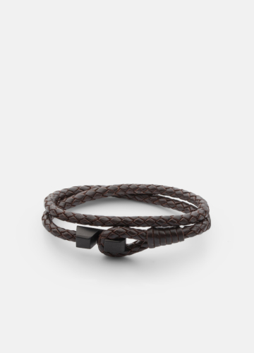 Hook leather Bracelet Matte Black - Dark Brown