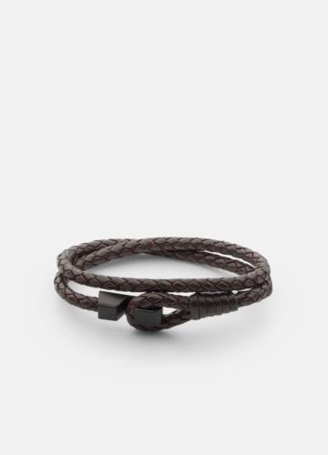 Hook leather Bracelet Matte Black - Dark Brown