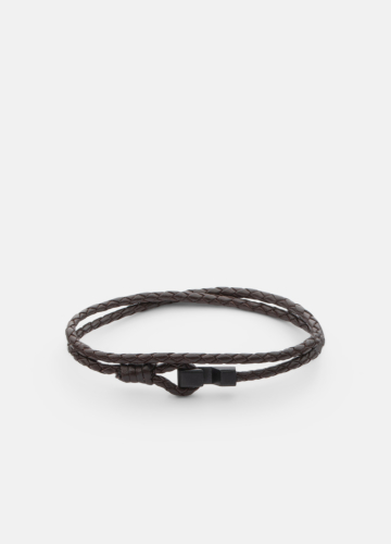 Hook leather Bracelet Matte Black Thin - Dark Brown