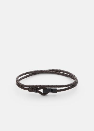 Hook leather Bracelet Matte Black Thin - Dark Brown