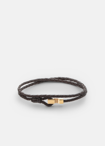 Hook leather Bracelet Thin Gold Plated - Dark Brown