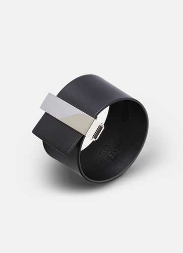 Clasp Leather Bracelet Silver - Black